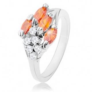 Prsteň v striebornom odtieni, oranžové zirkónové zrnká, číre zirkóniky - Veľkosť: 52 mm