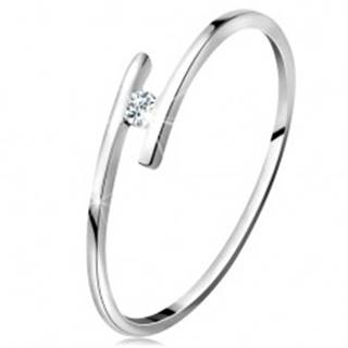 Prsteň z bieleho 14K zlata - tenké lesklé ramená, ligotavý číry zirkón - Veľkosť: 49 mm