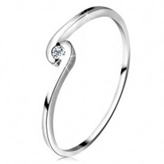 Prsteň z bieleho zlata 14K - okrúhly číry zirkón medzi zahnutými ramenami - Veľkosť: 49 mm