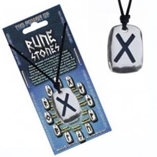Šnúrka na krk a kovový prívesok - čierny runový znak Gebo