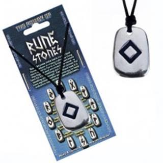 Šnúrkový náhrdelník - kovový prívesok, tabuľka, runa plodnosti