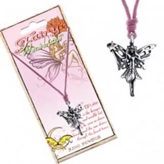 Šnúrkový náhrdelník - prívesok lesnej víly s čarovnou paličkou