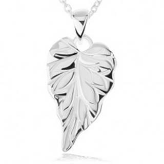 Strieborný náhrdelník 925 - lesklý gravírovaný list, retiazka