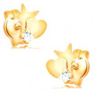 Zlaté diamantové náušnice 585 - hviezda a srdce, okrúhly číry briliant