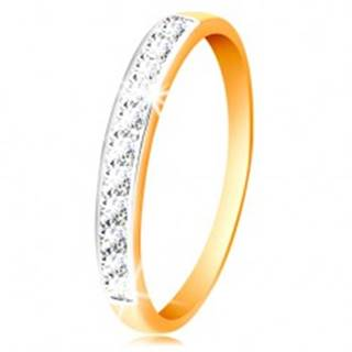 Zlatý 14K prsteň - ligotavý pás z čírych zirkónov s obrubou z bieleho zlata - Veľkosť: 50 mm