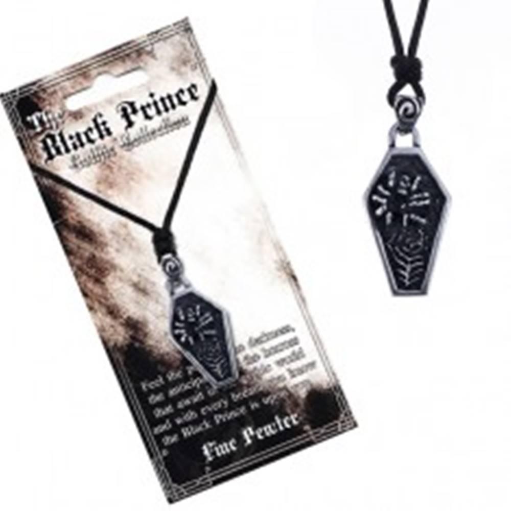 Šperky eshop Čierna šnúrka na krk a kovový prívesok, truhla s pavúkom