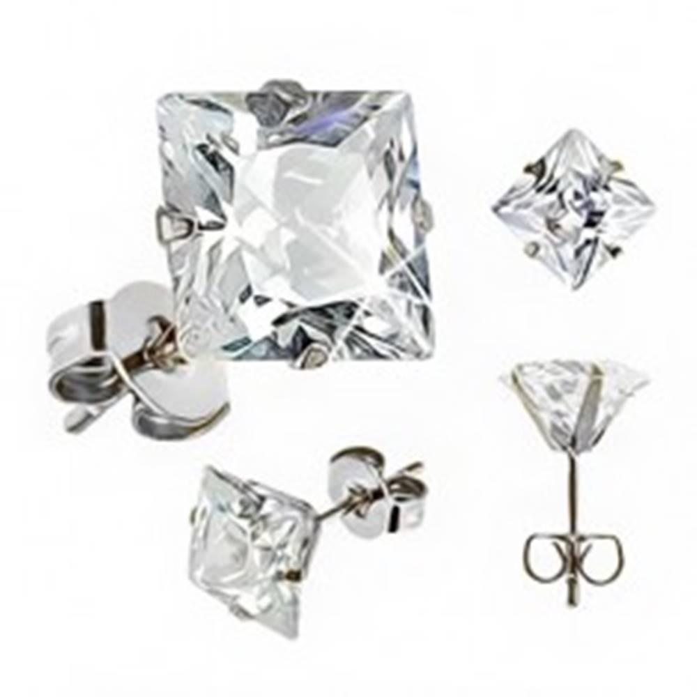 Šperky eshop Drobné oceľové náušnice - štvorcový číry zirkón, puzetové zapínanie, 4 mm