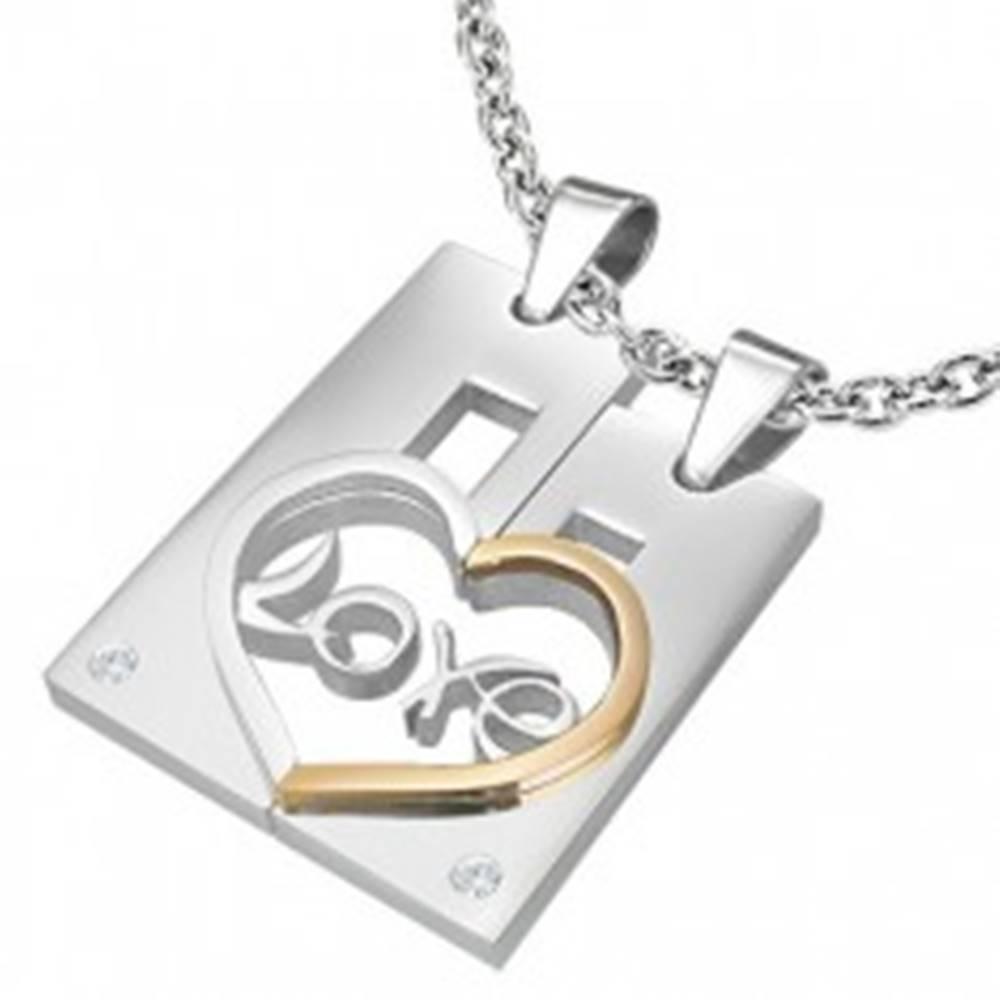Šperky eshop Dvojprívesok z ocele pre zamilovaných LOVE - obdĺžnik a srdce