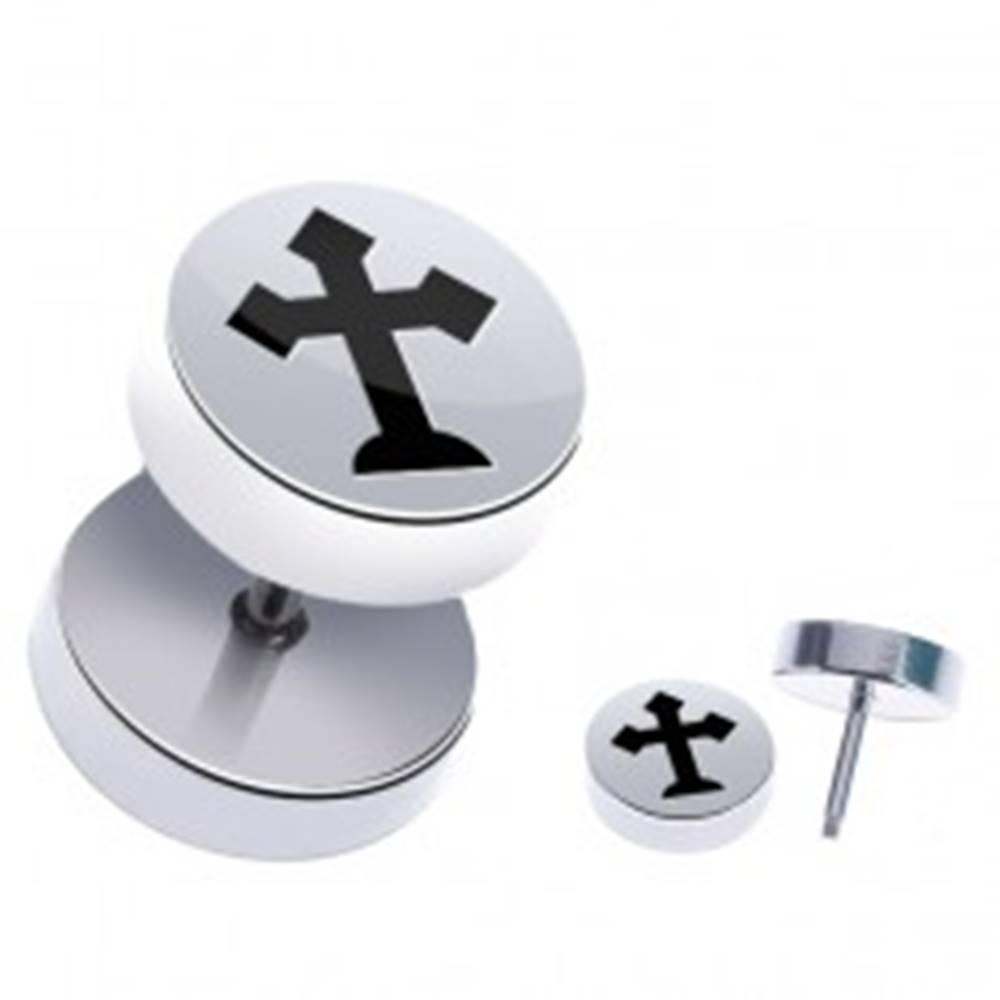 Šperky eshop Falošný piercing do ucha z ocele - lesklý, kríž s cípmi do špica