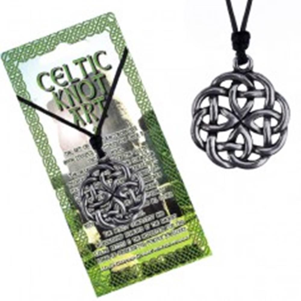 Šperky eshop Náhrdelník - čierna šnúrka a kovový prívesok keltský uzol