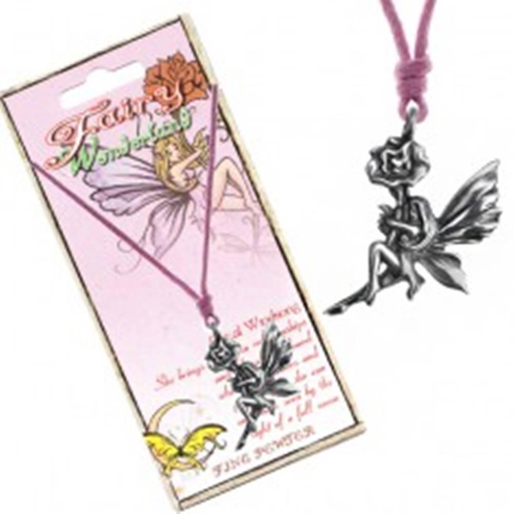 Šperky eshop Náhrdelník - ružová šnúrka, kovový prívesok víly na kvete