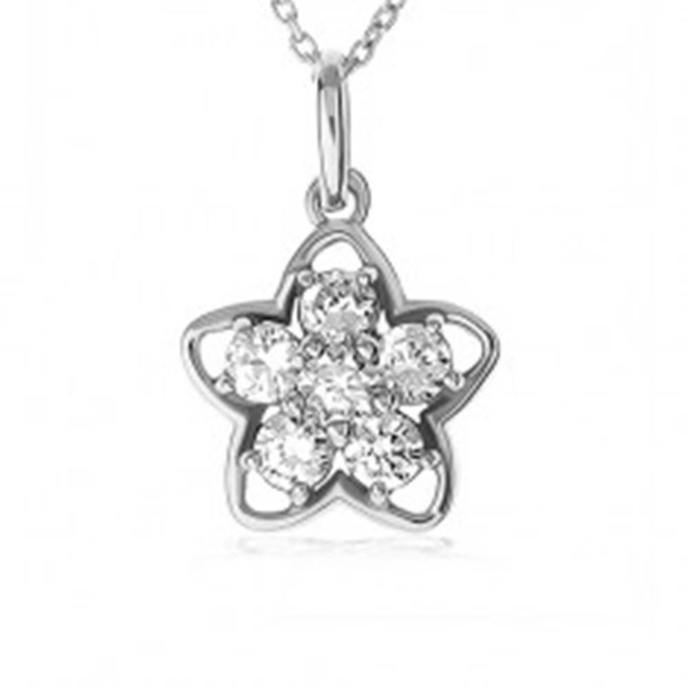 Šperky eshop Náhrdelník zo striebra 925, strieborná silueta kvetu, kvet z čírych zirkónov