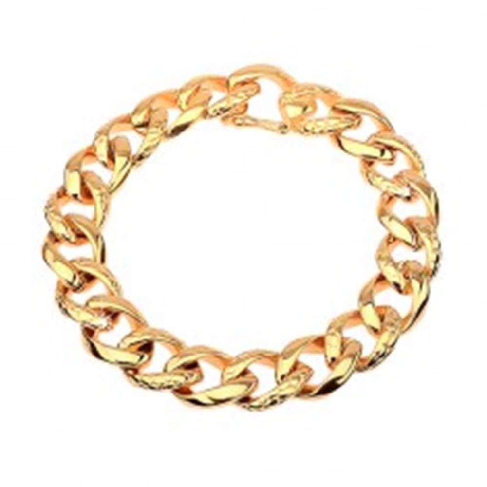 Šperky eshop Náramok z ocele 316L  zlatej farby - hrubá reťaz zdobená hadím vzorom