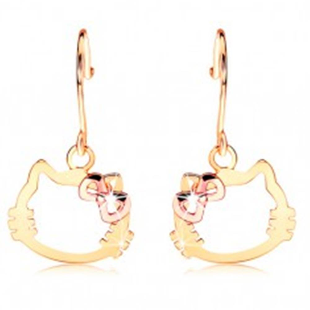 Šperky eshop Náušnice zo 14K zlata - kontúra hlavy mačky s mašľou z ružového zlata