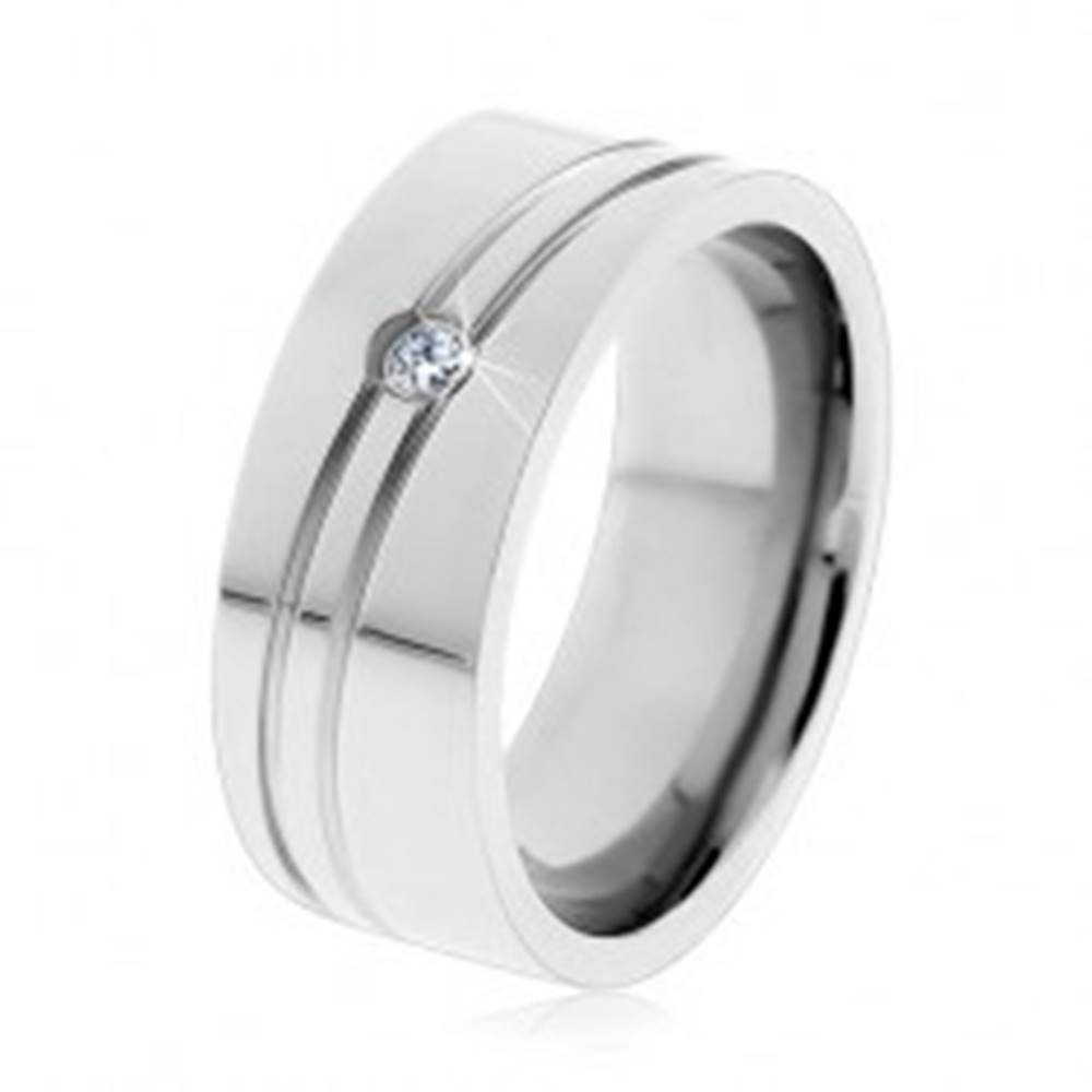 Šperky eshop Obrúčka z chirurgickej ocele striebornej farby, úzke šikmé zárezy, zirkónik - Veľkosť: 57 mm