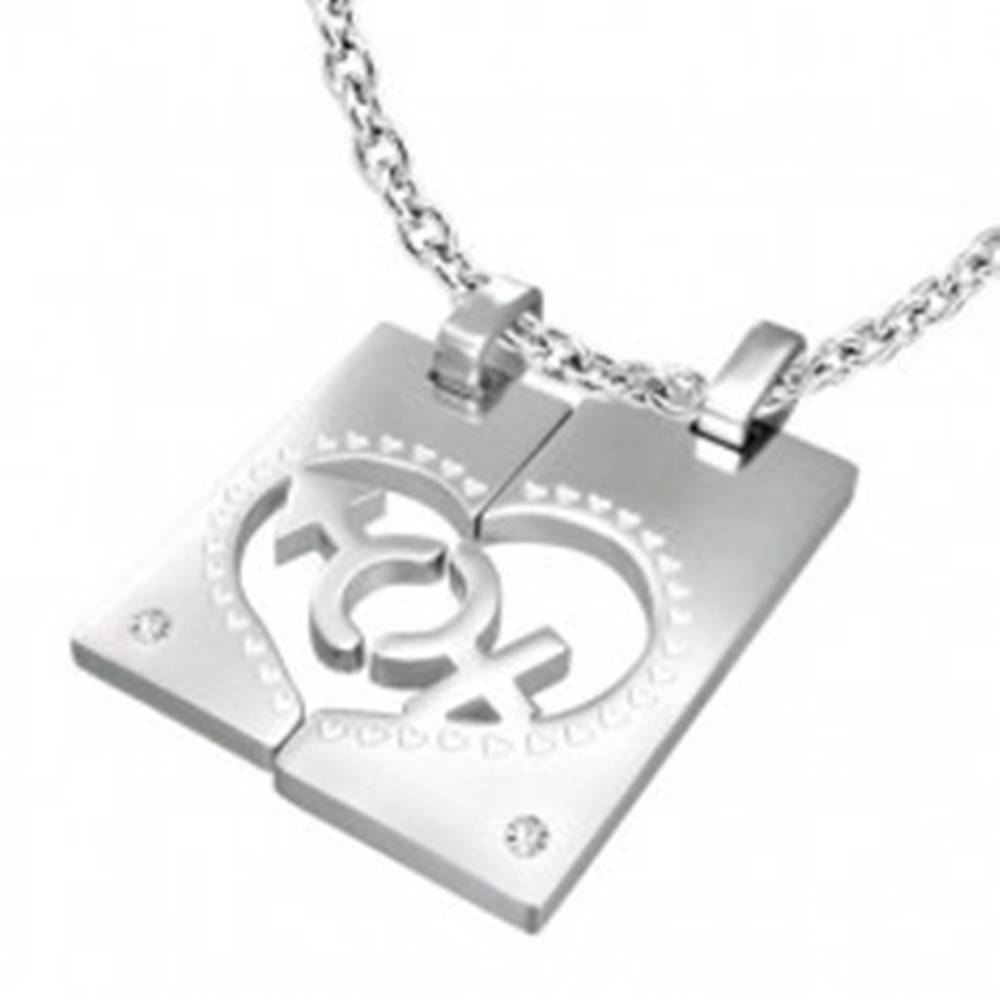 Šperky eshop Oceľový prívesok pre dvojicu - obdĺžnik, srdce, znak MUŽA a ŽENY, zirkóny