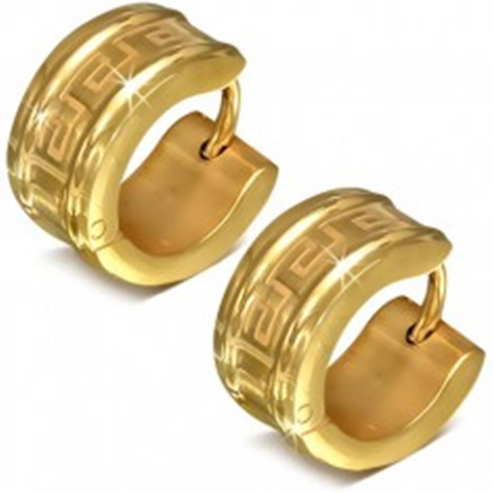 Šperky eshop Okrúhle náušnice z chirurgickej ocele zlatej farby, motív gréckeho kľúča