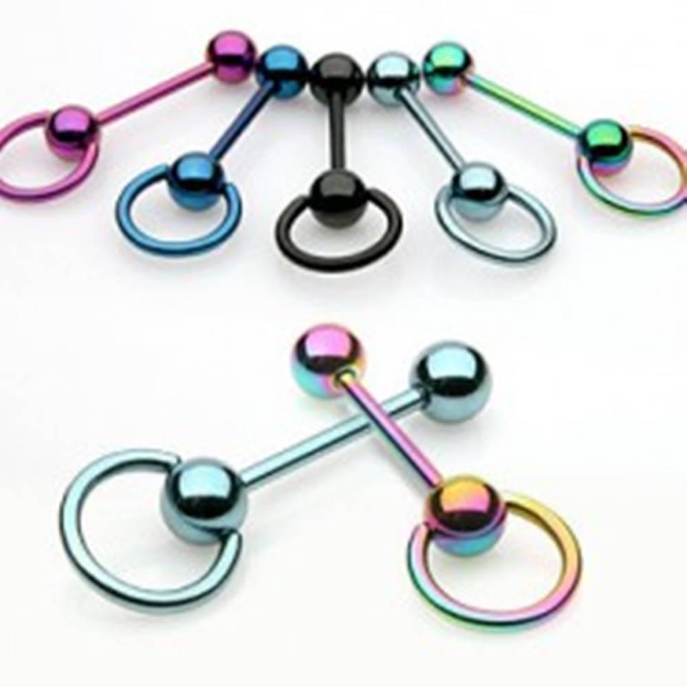 Šperky eshop Piercing - anodizovaný barbel a krúžok - Farba piercing: Čierna