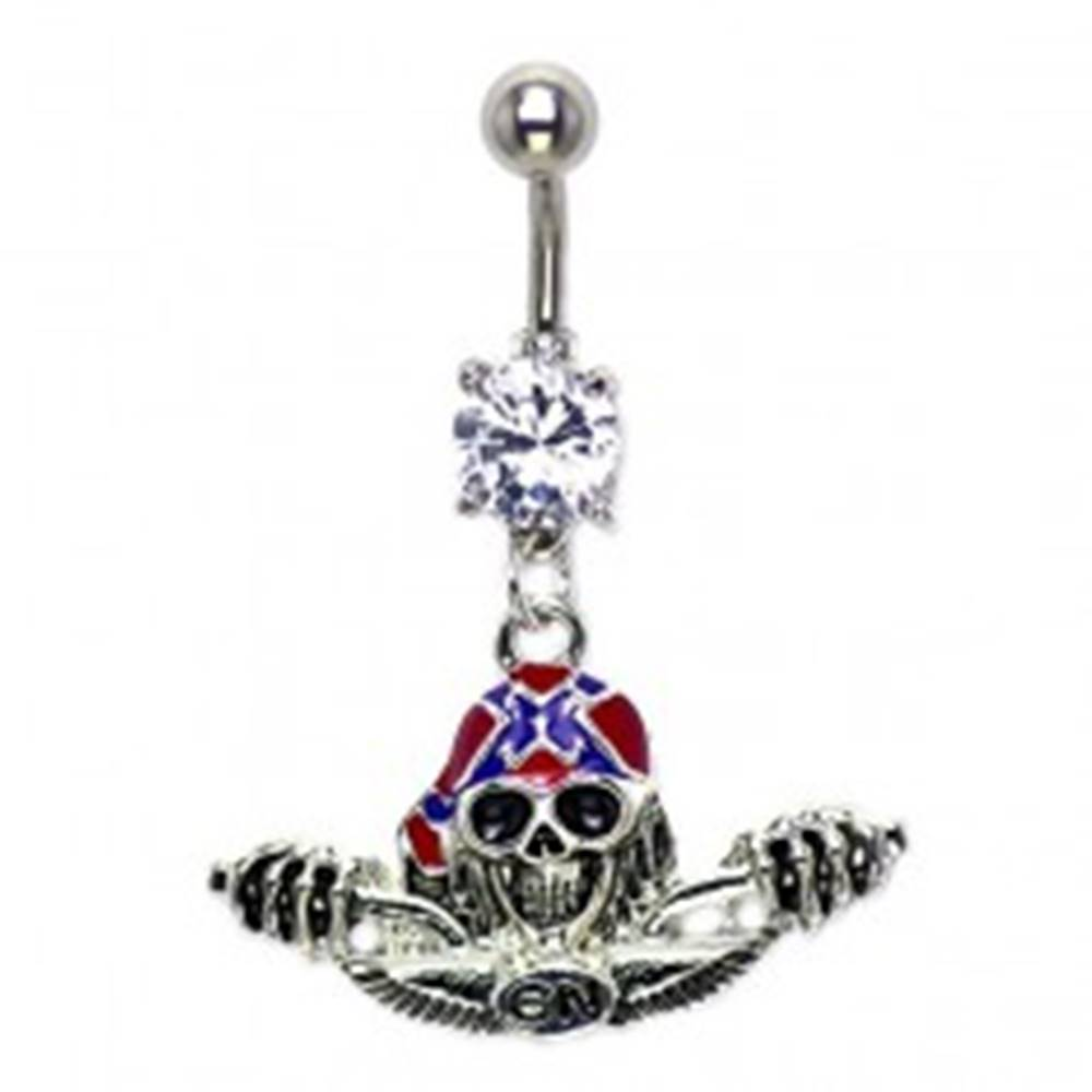 Šperky eshop Piercing do pupku lebka s helmou