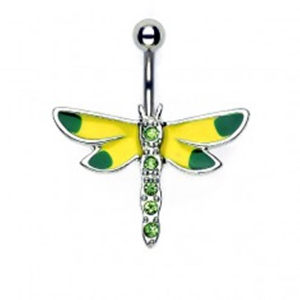 Šperky eshop Piercing do pupku žlto - zelená vážka