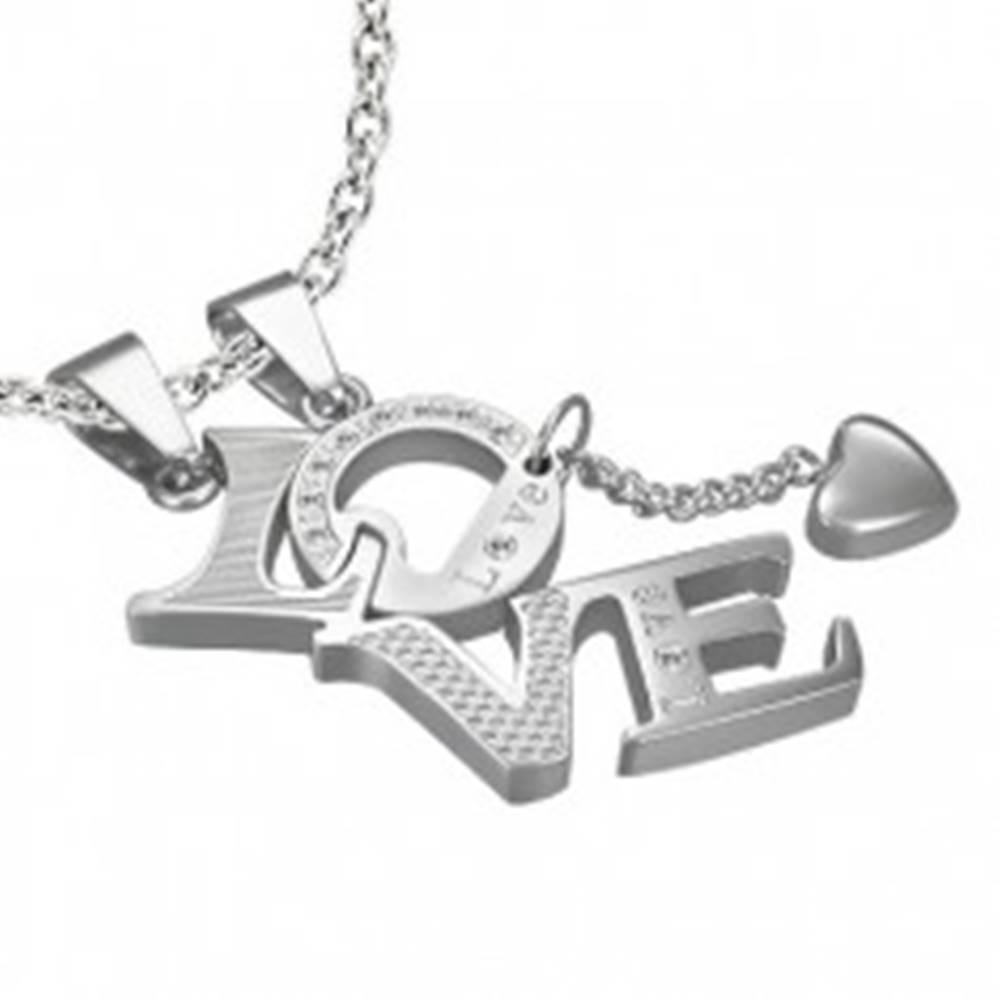 Šperky eshop Prívesok z ocele pre zamilovaných LOVE - srdiečko, zirkóny, nápis