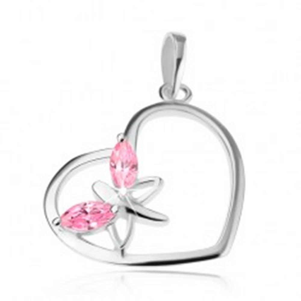 Šperky eshop Prívesok zo striebra 925, kontúra srdca, motýľ - ružové zirkónové krídla