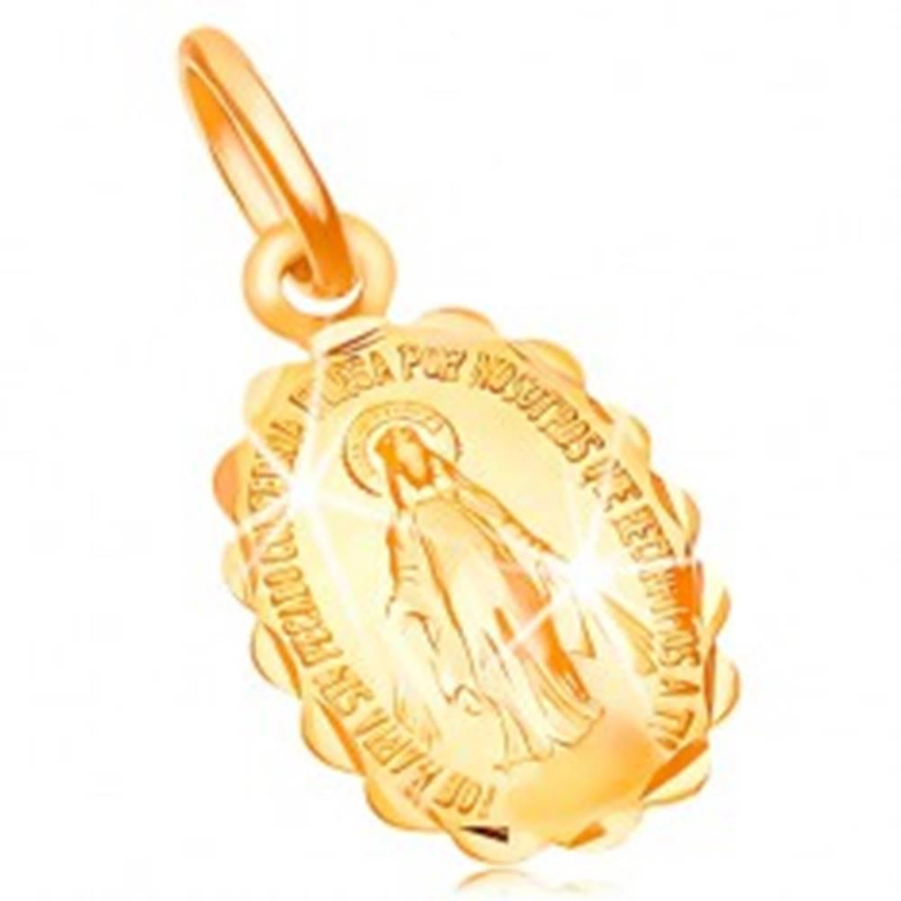 Šperky eshop Prívesok zo žltého zlata 14K - obojstranný medailónik s Pannou Máriou