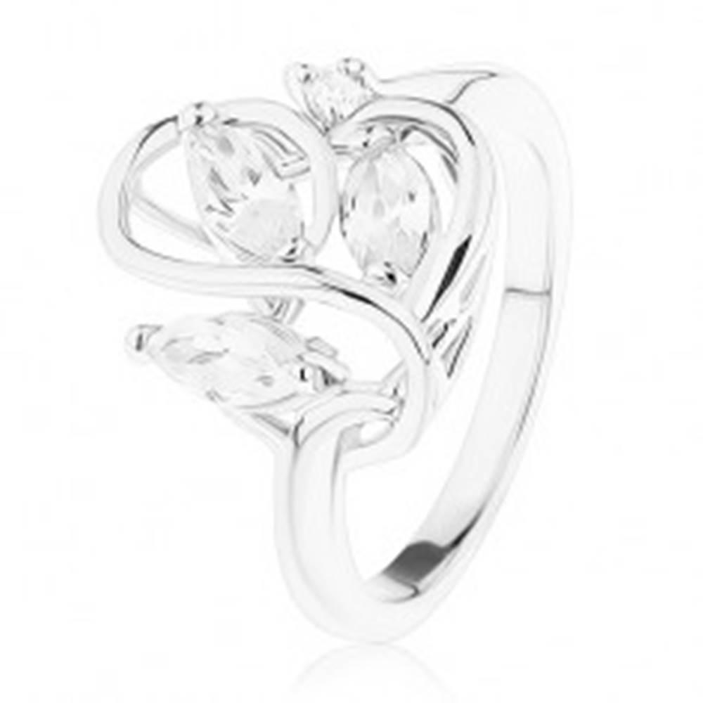 Šperky eshop Prsteň s lesklými ramenami, zvlnené prepletené línie, zirkóny čírej farby - Veľkosť: 49 mm