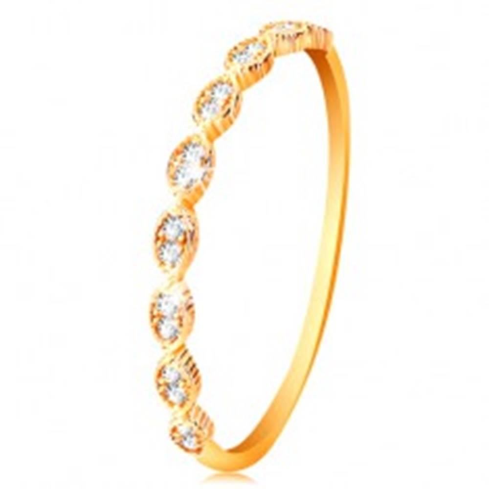 Šperky eshop Prsteň v žltom 14K zlate - spájané zrnká so vsadenými zirkónikmi - Veľkosť: 50 mm
