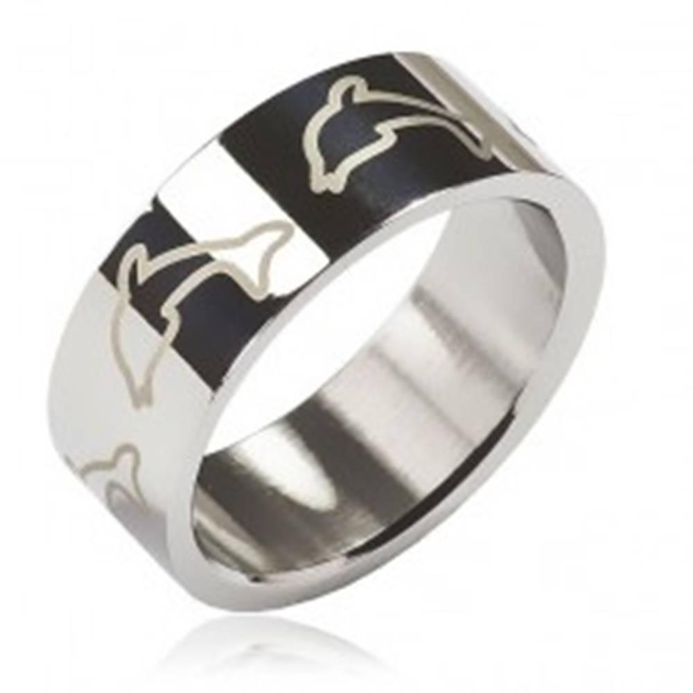 Šperky eshop Prsteň z chirurgickej ocele - svetlé delfíny - Veľkosť: 48 mm