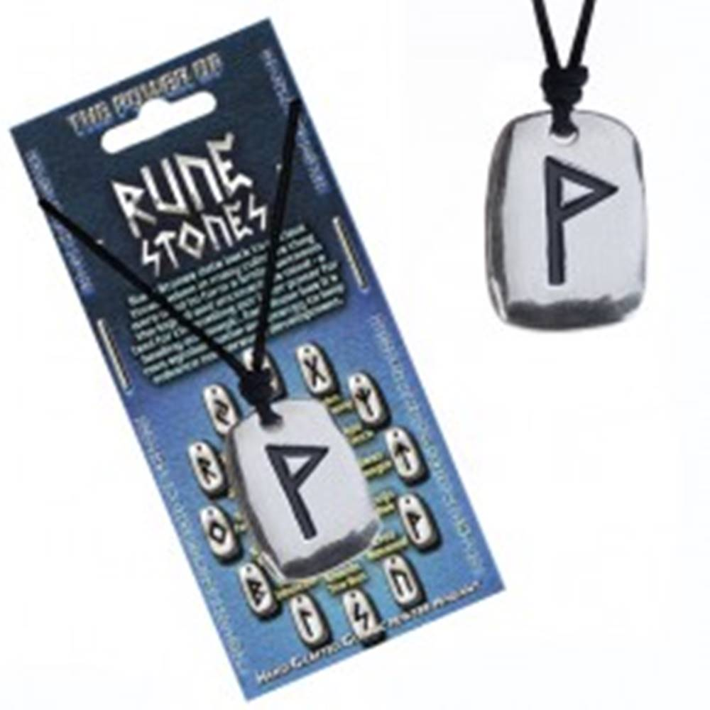 Šperky eshop Šnúrka na krk a kovový prívesok - čierny runový znak Wunjo