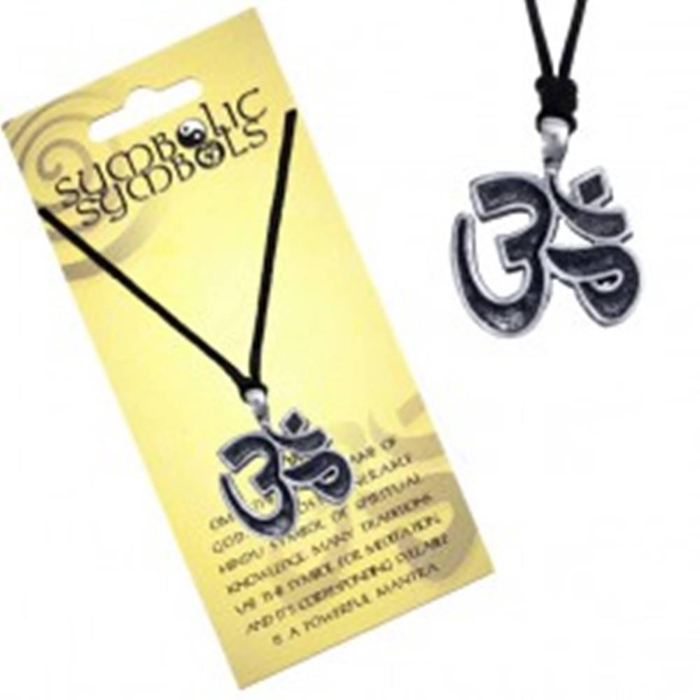 Šperky eshop Šnúrkový náhrdelník - kovový prívesok, posvätná slabika Óm