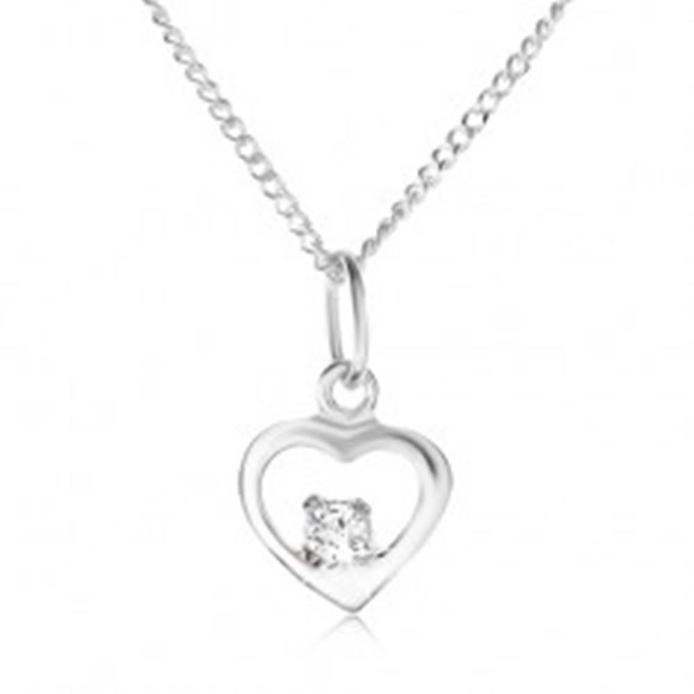 Šperky eshop Strieborný 925 náhrdelník, lesklý obrys srdiečka, kamienok čírej farby