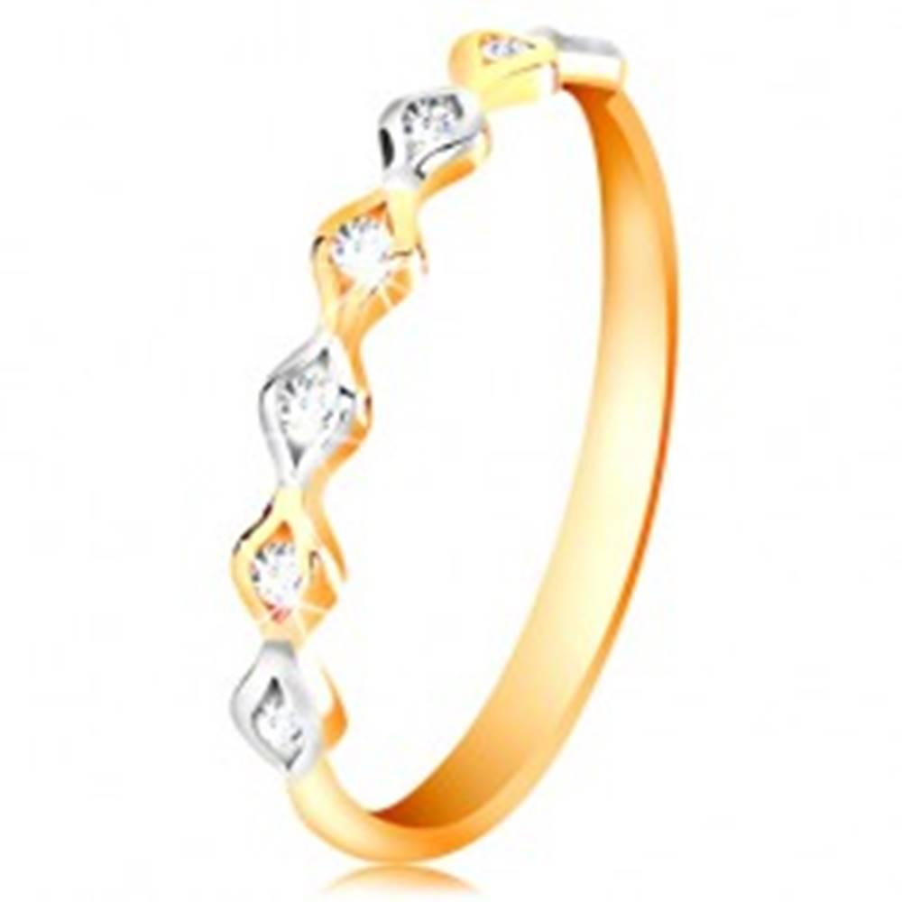 Šperky eshop Zlatý 14K prsteň - dvojfarebné zrnká so vsadenými zirkónmi, vysoký lesk - Veľkosť: 50 mm