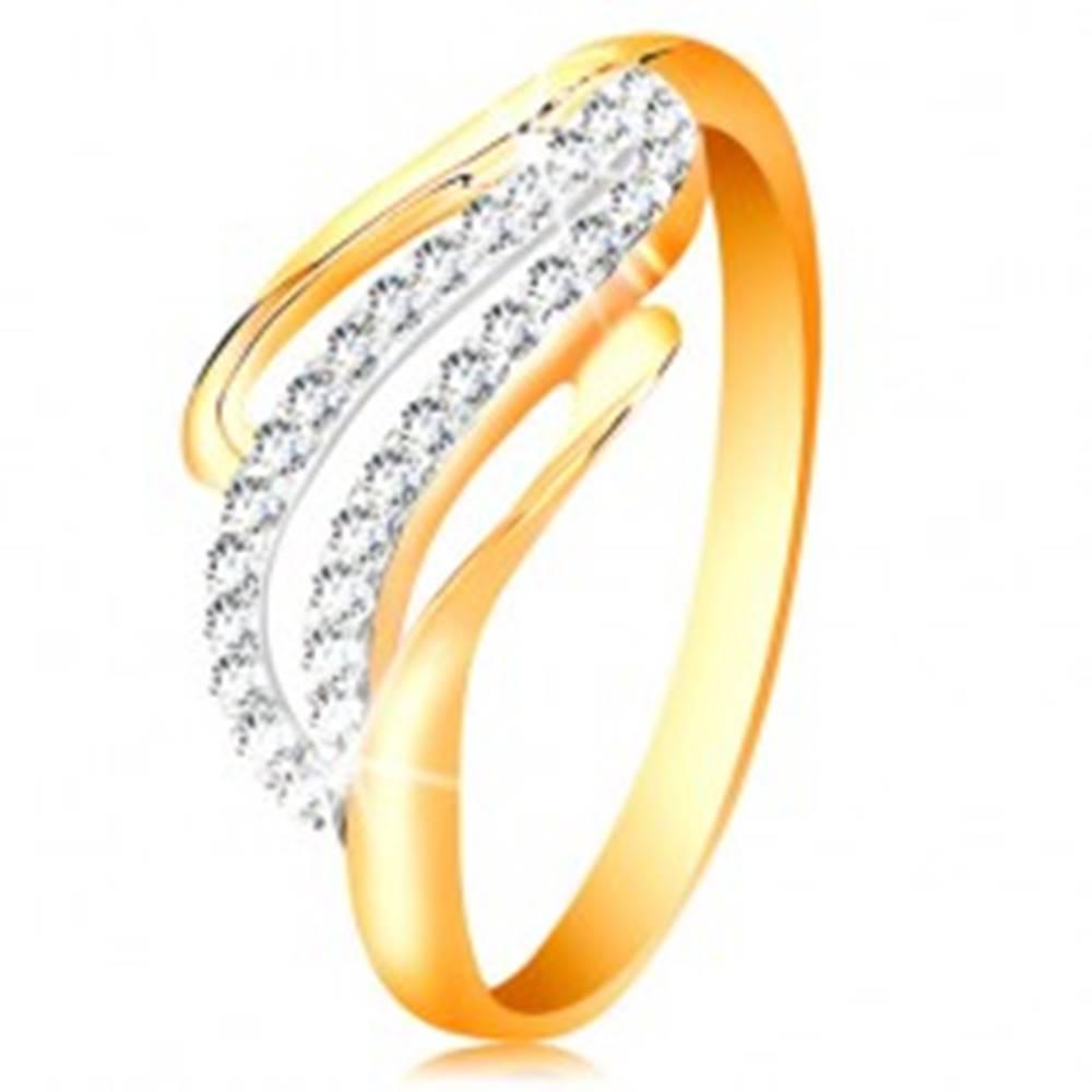 Šperky eshop Zlatý prsteň 14K - zvlnené línie ramien, ligotavé číre zirkóniky - Veľkosť: 50 mm