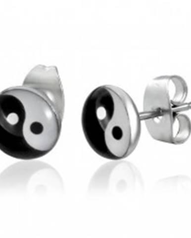 Okrúhle oceľové náušnice - symbol jin jang, puzetky