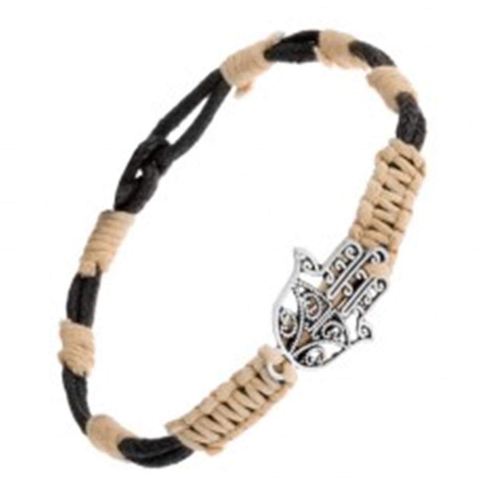 Šperky eshop Béžovočierny pletený náramok s patinovaným príveskom budhistickej ruky