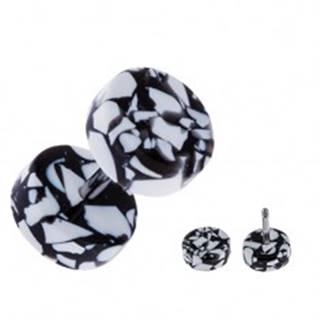 Akrylový fake plug do ucha - kolieska bielo-čiernej farby