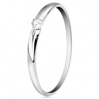 Briliantový prsteň v bielom 14K zlate - tenké zárezy na ramenách, číry diamant - Veľkosť: 49 mm