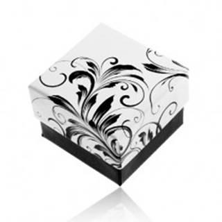 Darčeková krabička na prsteň, vzor popínavých listov, čierno-biela kombinácia