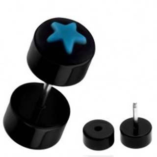 Falošný piercing do ucha z akrylu - čierny s modrou hviezdou