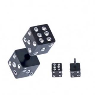 Falošný plug do ucha z ocele - čierne hracie kocky, zirkóny