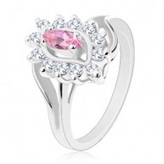 Lesklý prsteň v striebornej farbe, ružové zirkónové zrnko, okrúhle zirkóniky - Veľkosť: 49 mm