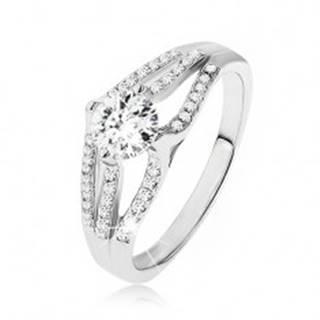 Ligotavý prsteň - striebro 925, veľký okrúhly zirkón, tri pruhy čírych kamienkov - Veľkosť: 48 mm
