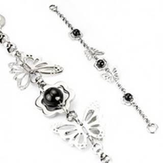 Náramok z ocele - motýle, kvety, korálka