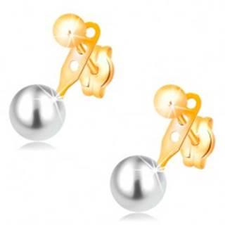 Náušnice v žltom 14K zlate, lesklá hladká guľôčka a biela perla