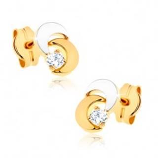 Náušnice z 9K zlata - dva mesiačiky, číry trblietavý kamienok, ródiované
