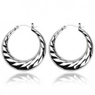 Náušnice z ocele - vrúbkované kruhy