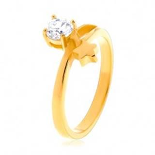 Oceľový prsteň zlatej farby, hviezda a okrúhly číry zirkón - Veľkosť: 49 mm