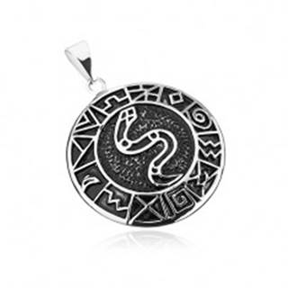 Prívesok z chirurgickej ocele, had v kruhu lemovaný starodávnymi symbolmi